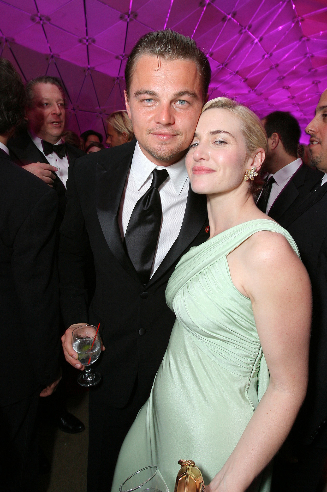 "They met up multiple times throughout the season and wrapped up the excitement at Vanity Fair's annual Oscars party, where Kate helped Leo celebrate The Departed's best picture win.  Later that year — 10 years after their Titanic start — they got back together in front of the cameras to film 2008's Revolutionary Road. Kate shared that their background helped them during filming, especially since the director happened to be Kate's then-husband, Sam Mendes. Kate confirmed that Leo's and her ""relationship predates my relationship with Sam, and Sam always loved that,"" which made working with both the men in her life even easier."