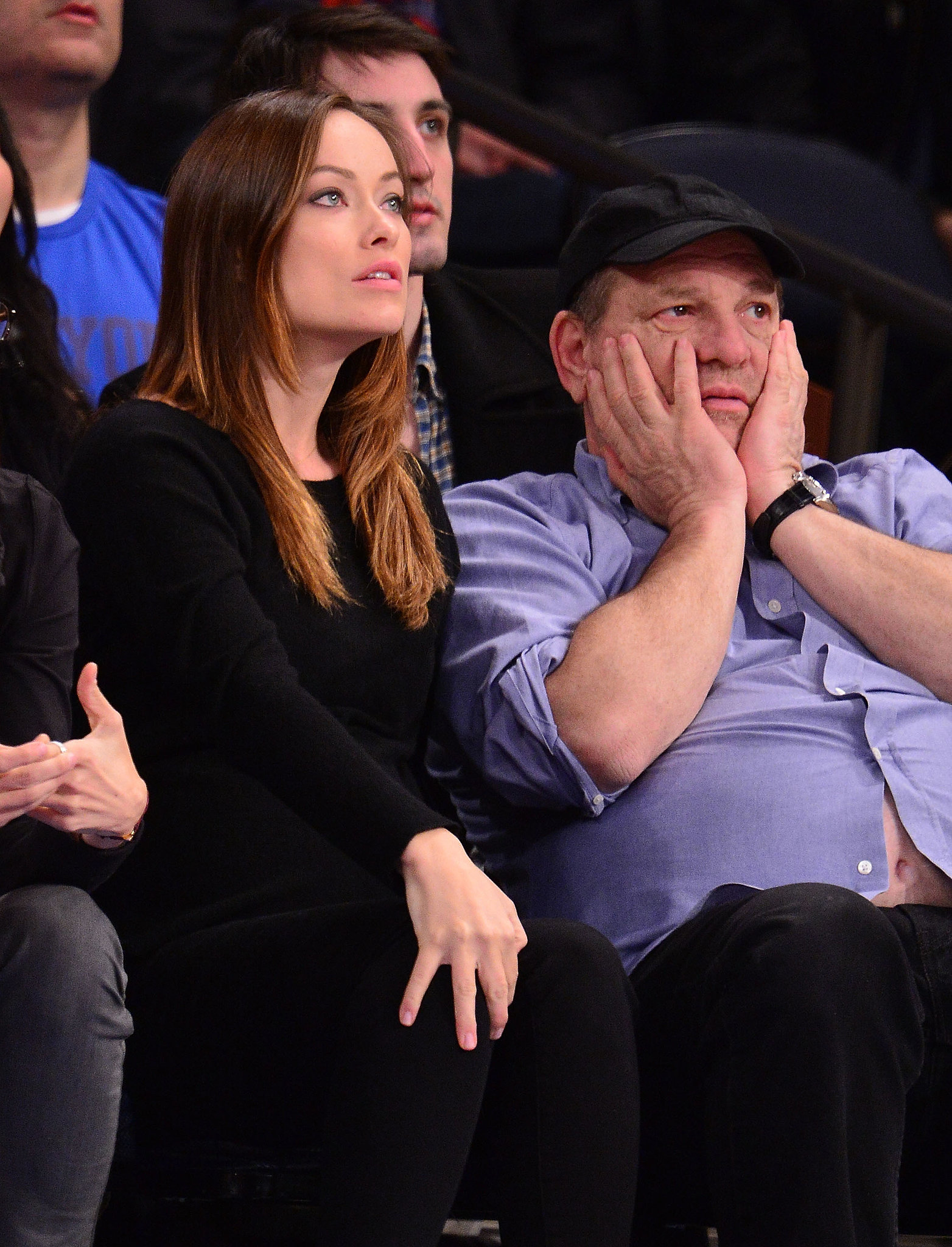 Harvey Weinstein and Olivia Wilde didn't look happy during a New York Knicks game in NYC on Sunday.