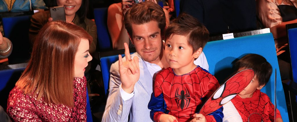 Andrew and Emma Swoop In For the Cutest Spider-Man Fan Event
