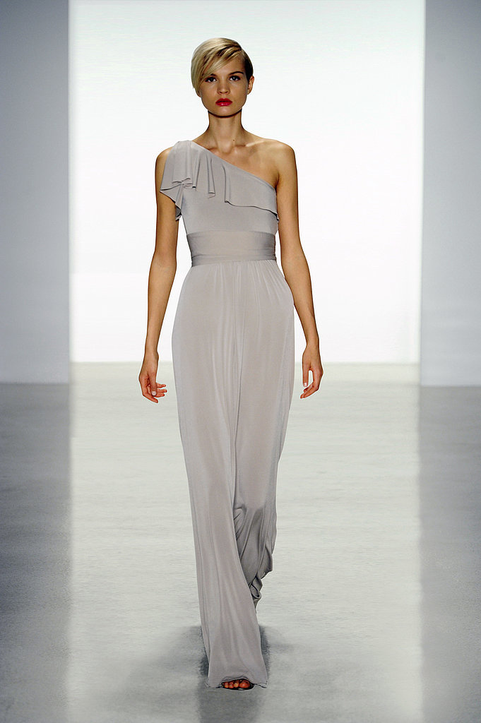 Amsale jersey one-shoulder ruffle long bridesmaid dress in sable Photo courtesy of Amsale
