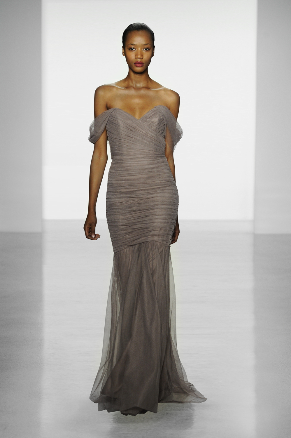 Amsale tulle off-the-shoulder long bridesmaid dress in mocha Photo courtesy of Amsale