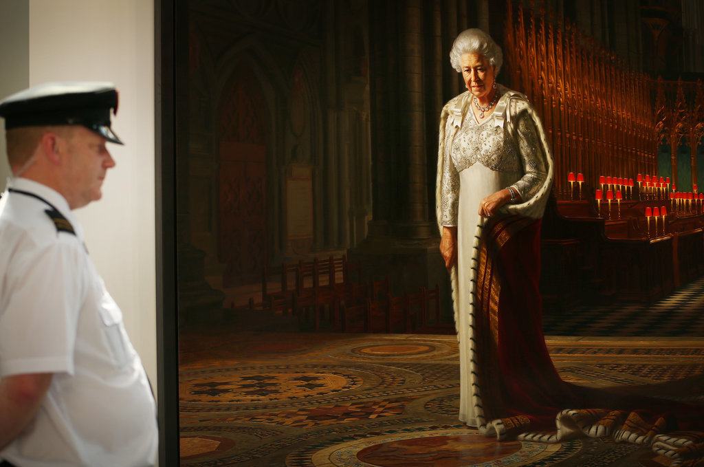 """This portrait called """"Glorious"""" was commissioned for the Diamond Jubilee to show the queen in the later years of her 60-year reign. After it was vandalized, it went back on display in Westminster Abbey with extra security."""