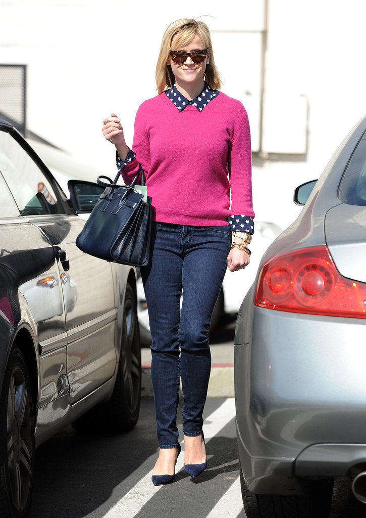 Reese Witherspoon in Heart-Print Topshop Top and Pink Sweater