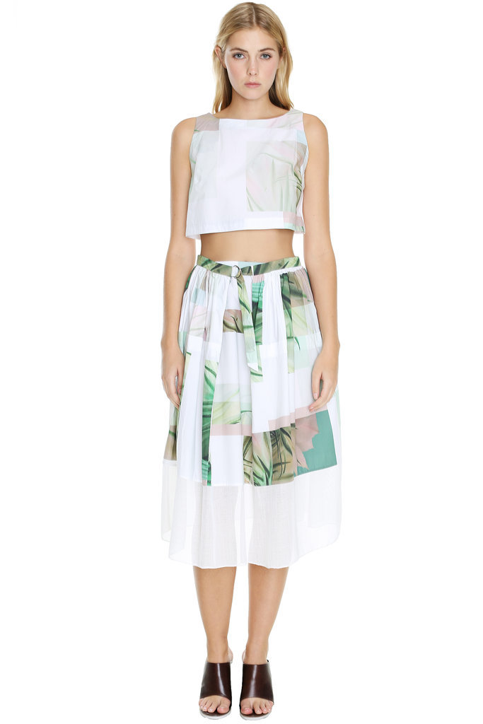 Tibi Cactus Print Crop Top and Matching Midi Skirt