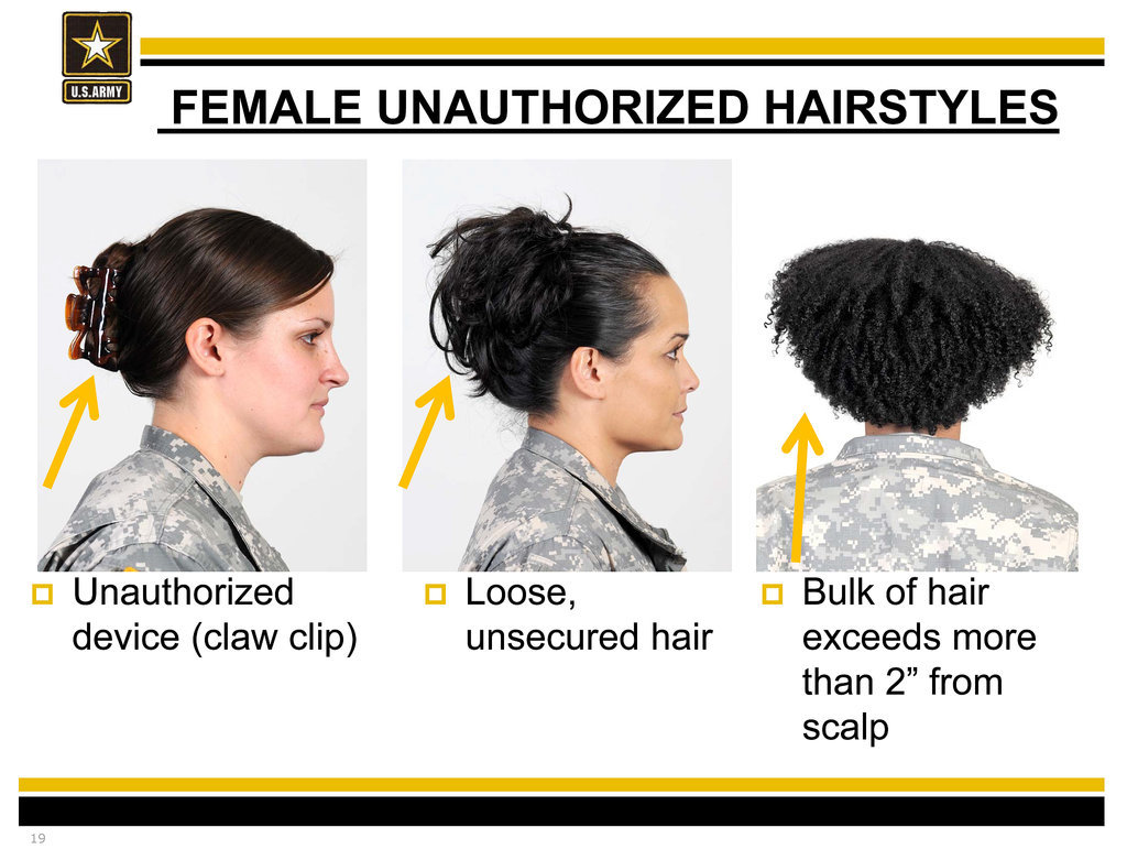 military haircut and ar 670 1 It depends on the texture of the hair and the interpretation of the regulations being applied at the soldier's post from page 5, 32(a)(1)(c) of ar 670-1, sept 15, 2014 edition.