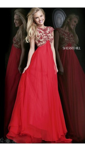 Beads Sherri Hill 21321 Red Prom Dress LongOutlet