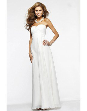 2014 Ruffled Bodice A Line Sweetheart Floor Length Contracted  Prom Dress White
