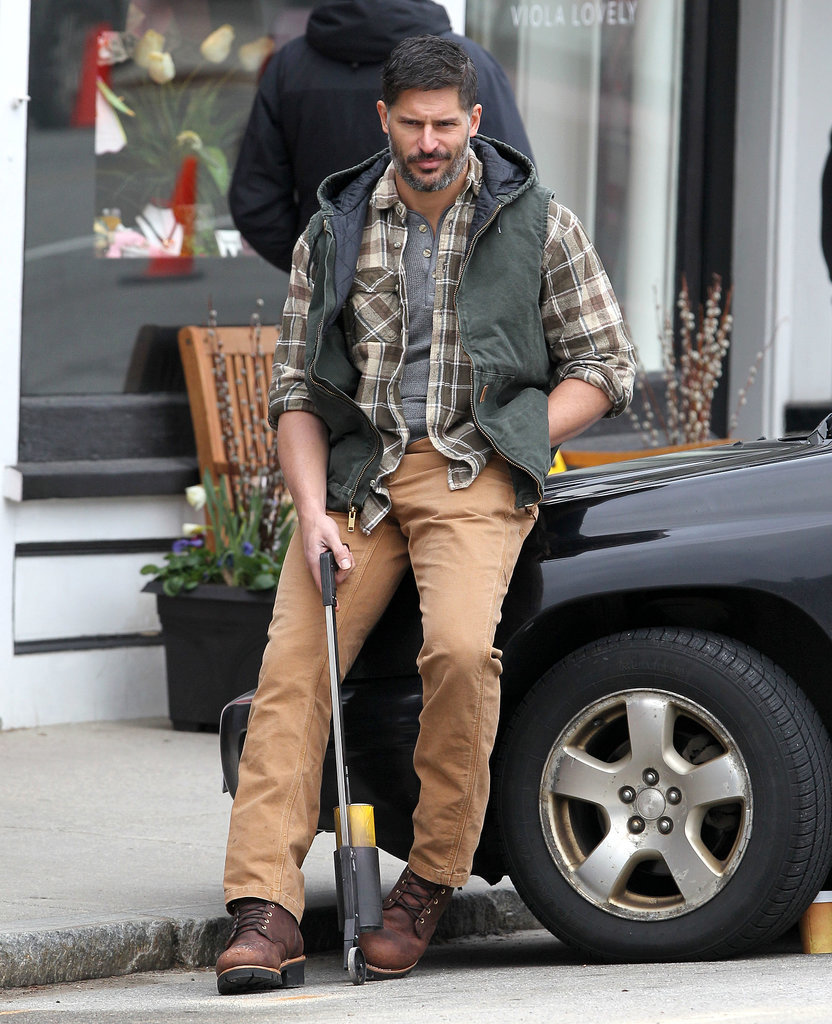 Joe Manganiello looked ruggedly handsome while he filmed a scene for Tumbledown in Concord, MA, on Wednesday.