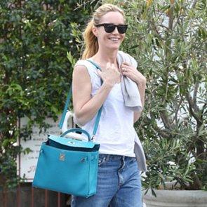 Casual Celebrity Style Leslie Mann Style Hermes Bag Converse
