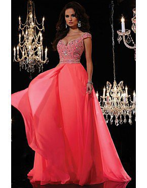 2014 V Neck Off The Shoulder Beaded Fitted Bodice Long Dress Chiffon Watermelon