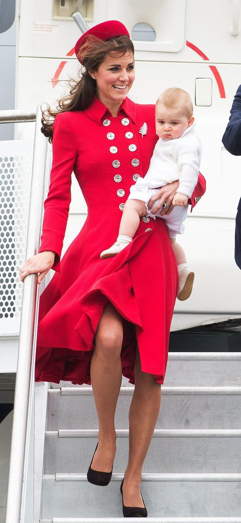 The Duchess of Cambridge carried Prince George when they kicked off the royal tour in New Zealand on Monday.