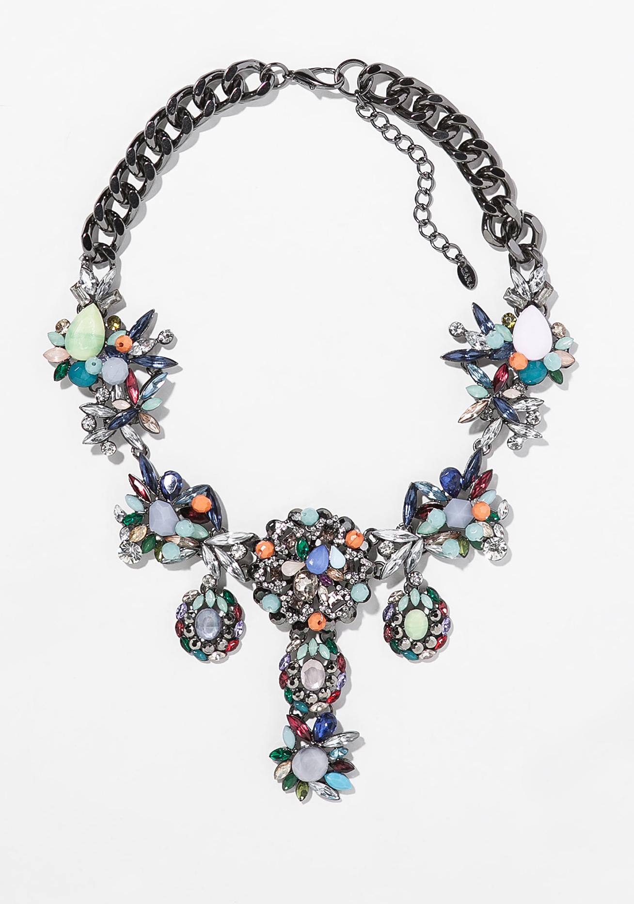 Zara multicolor rhinestone bib necklace ($50)