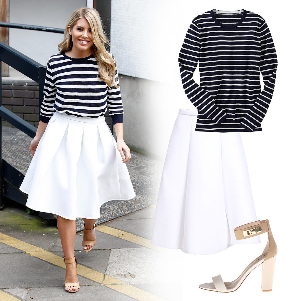 Mollie King Wearing Striped Sweater and White Midi Skirt ...