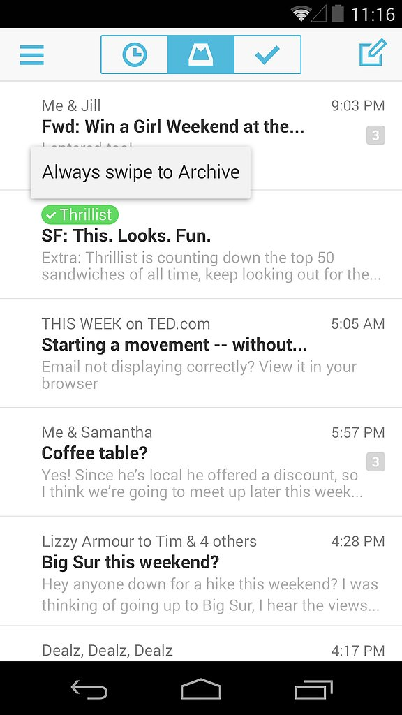 Mailbox for Android — Auto-Swipe