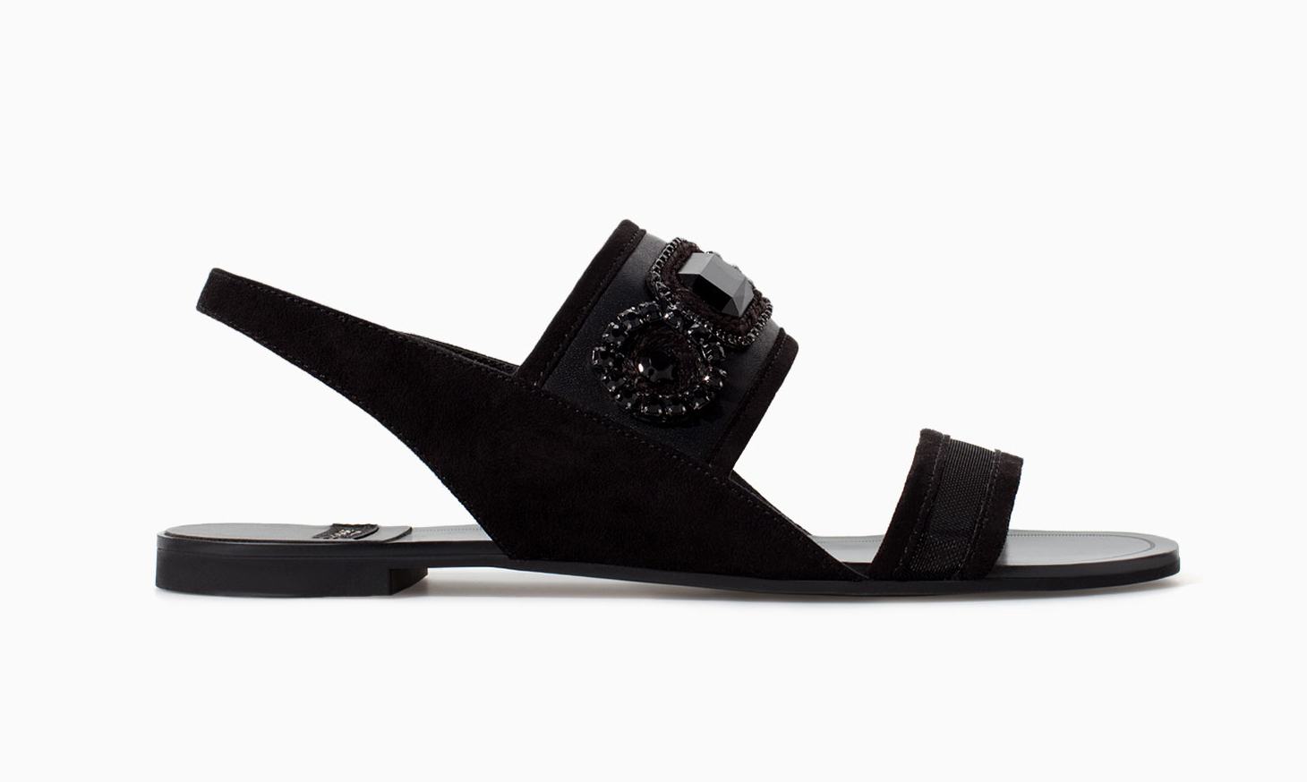 Zara black flat sandals with rhinestones ($60)
