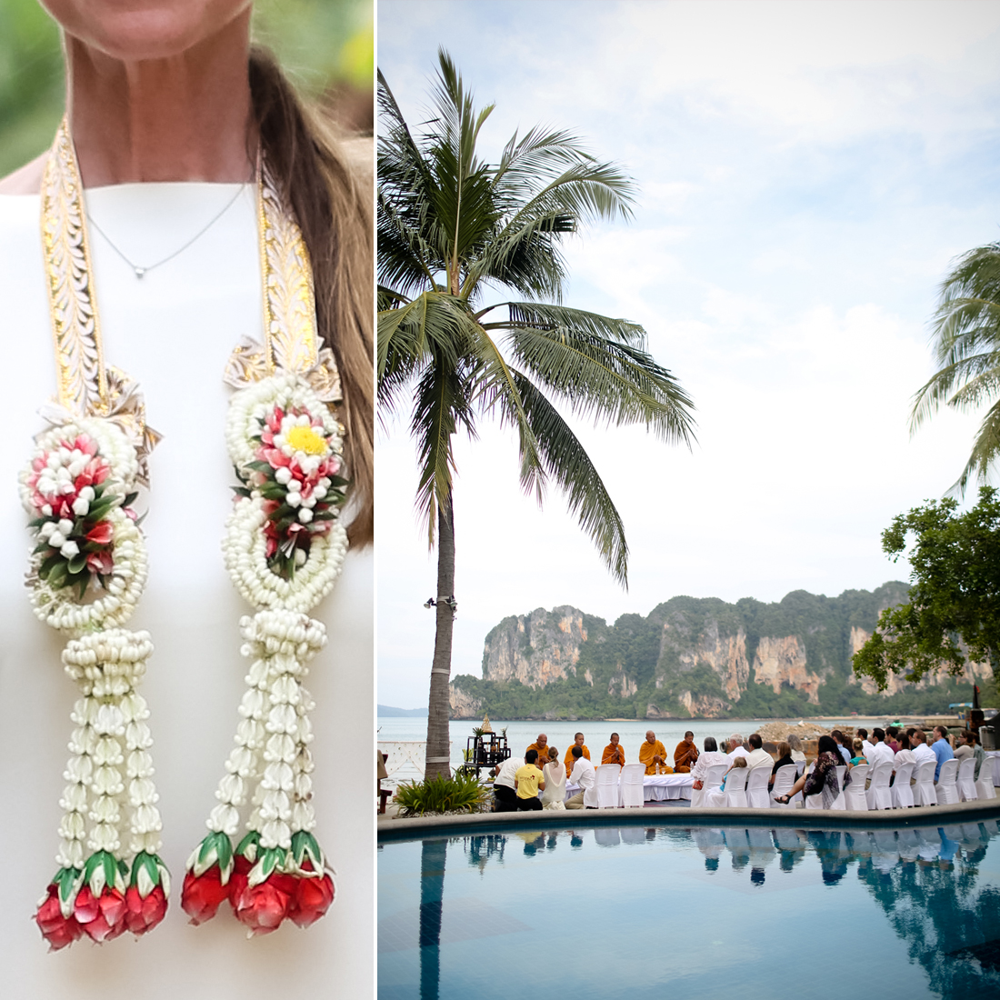 """What made you choose to have a destination wedding? """"We looked at a few local venues, but deep down, we knew that Thailand was the right place for us to say our vows. We couldn't find a place close to home that offered the same natural beauty and cultural experience of Thailand. We are both travelers, having been to over 20 different countries together. We wanted our wedding to be an experience that our guests wouldn't soon forget.   """"My family lives on the East Coast, and my husband's family is primarily in the Midwest. We knew that they would all need to travel anyway, and the costs to come to California were actually higher than the costs to travel to Thailand (although the flight was much longer!)."""" Source: Melissa McClure Photography"""