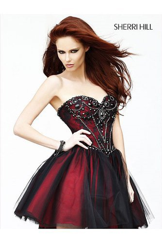 2014 Sherri Hill 21156 Lace Wrapped Rhinestone Corset Black Prom Dress