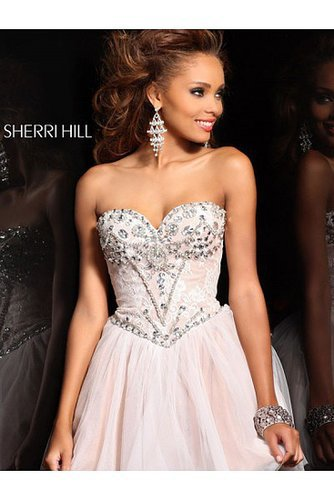 2014 Sherri Hill 21156 Lace Wrapped Rhinestone Corset Blush Prom Dress