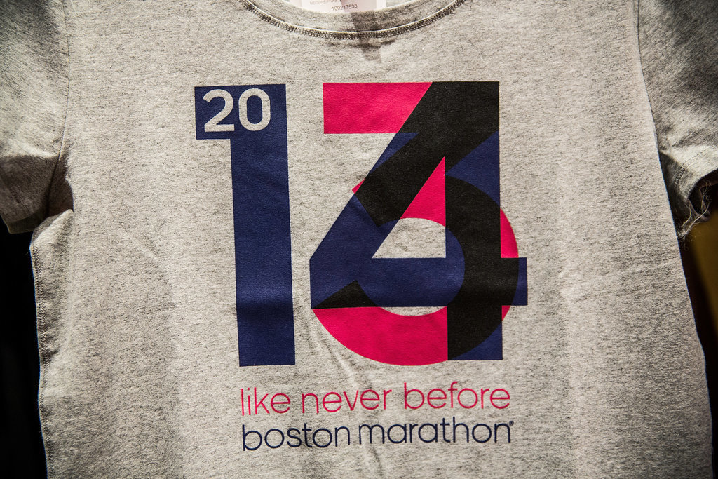 """A t-shirt reading """"2014: Like Never Before"""" was on sale at a nearby running apparel store."""