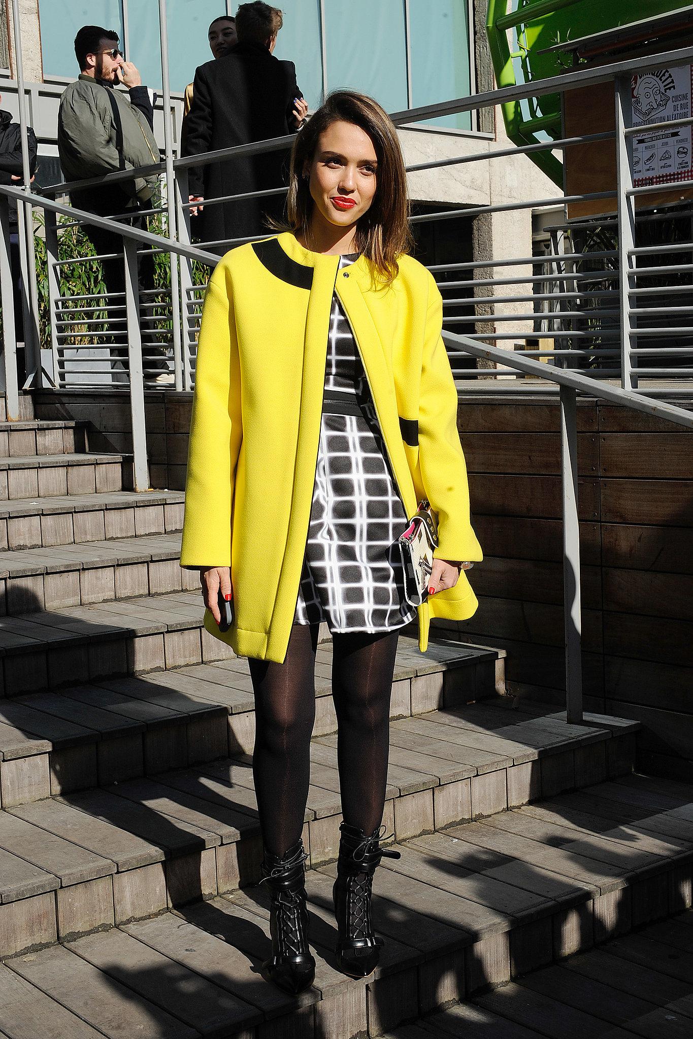 Jessica Alba in Printed Kenzo Dress and Yellow Kenzo Coat