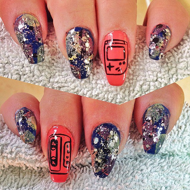 Um, getting this Game Boy/cassette tape nail set done ASAP. Source: Instagram user aknailsbysam