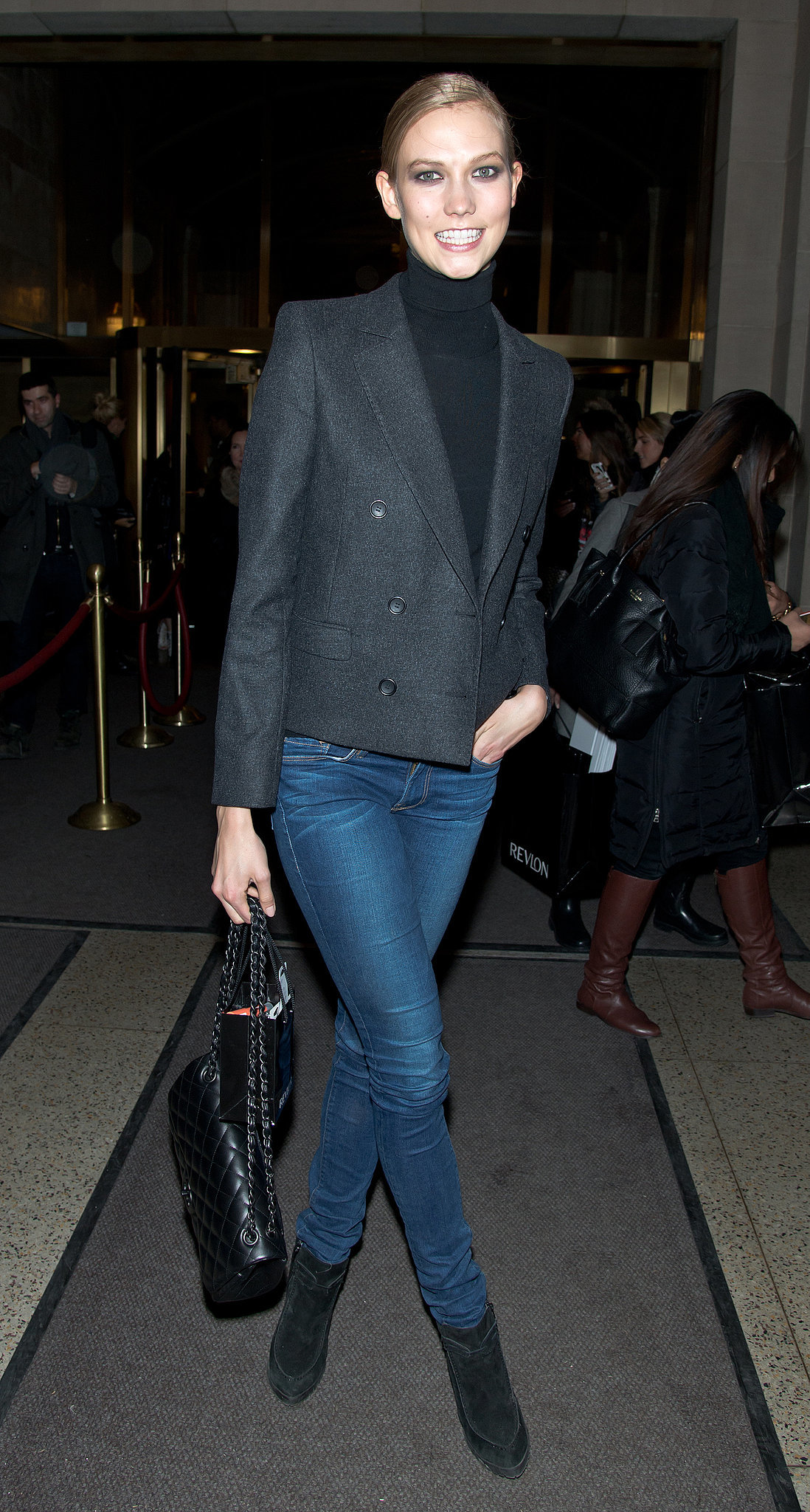 Karlie Kloss in a Turtleneck and Blazer