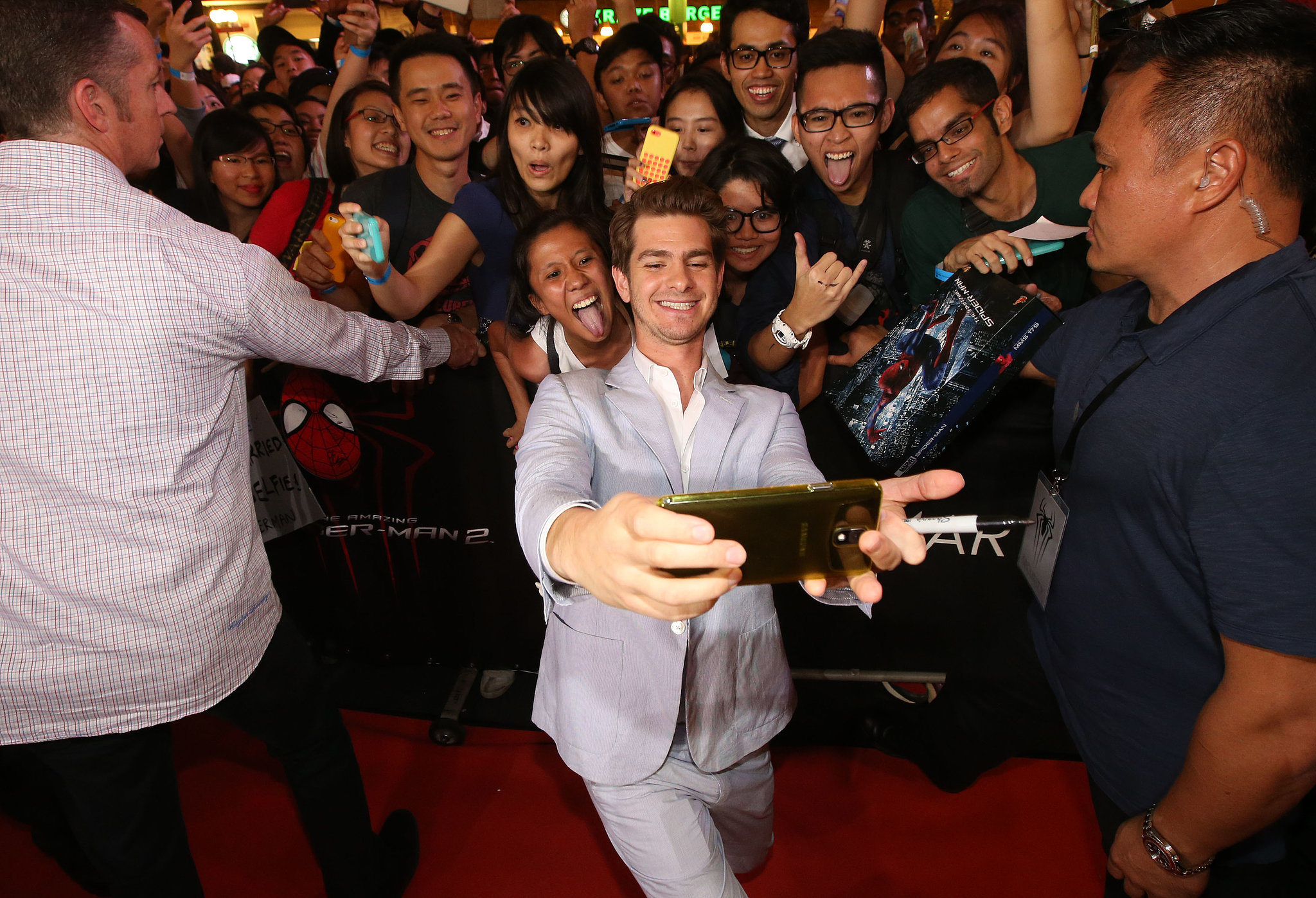 Andrew Garfield snapped a big group selfie at a fan event in Singapore in March 2014.