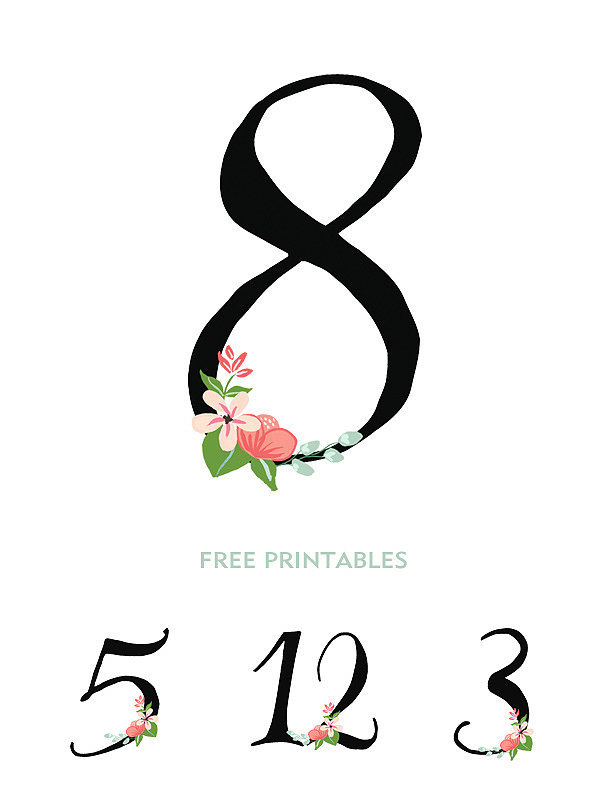 Hand-Drawn Flower Table Numbers