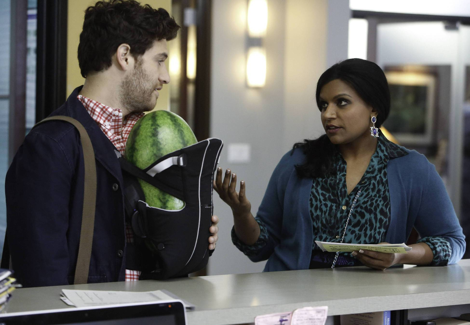 No big deal, just Peter (Adam Pally) and a watermelon in a baby carrier.