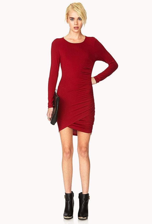 Forever 21 Red Long-Sleeve Dress
