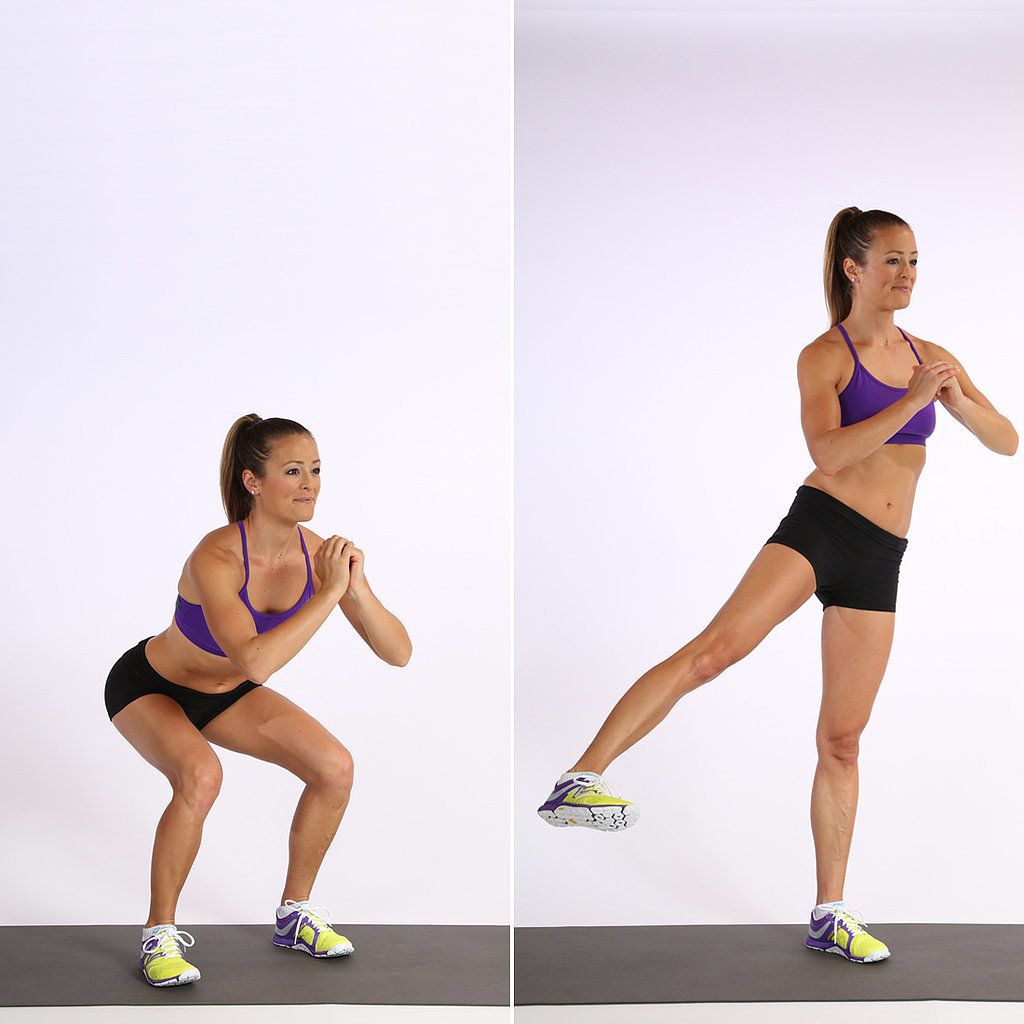 Circuit One: Squat With Side Leg Lift — 20 Reps, Alternating