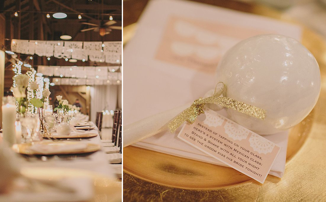 """Did you take on any DIY projects? """"Since we planned the wedding in a short six months time and everything happened so quickly, I did take on a few DIY projects. The following were DIYs:  """"Centerpieces — I kept the centerpieces very simple, with white roses in a simple cylinder vase. """"Escort cards/wedding favors — mini tequila bottles with the guests' name(s) and table numbers. """"Lace table runners — purchased the lace and cut each runner individually. """"Wedding suite (table numbers, menus, wedding programs, etc.) — designed via Etsy and printed everything myself. """"Mexican Maracas — had one placed on every other seat and added a cutesy tag that read,""""Instead of tapping on your glass, here's a system with Mexican class, stand and shake with all your might, to see the groom kiss his bride tonight."""" """"Grandparents & Mother of the Groom Table — we set up a table to honor our late grandparents and my husband's late mother with their photos and lots of candles.""""  What didn't go according to plan and how did you solve it? """"For the most part, everything went great! There were a few little details that didn't work out exactly as planned (I had ordered a maraca — the Mexican musical shaker — for each guest. However, UPS lost one of the boxes, and I wasn't able to get the shipment on time. Which is why they were placed on every other seat) along with a few minor things, I will say, a lot of this can be attributed to my amazing wedding coordinator who took care of everything the day of!"""" Photos by Anna Delores Photography"""