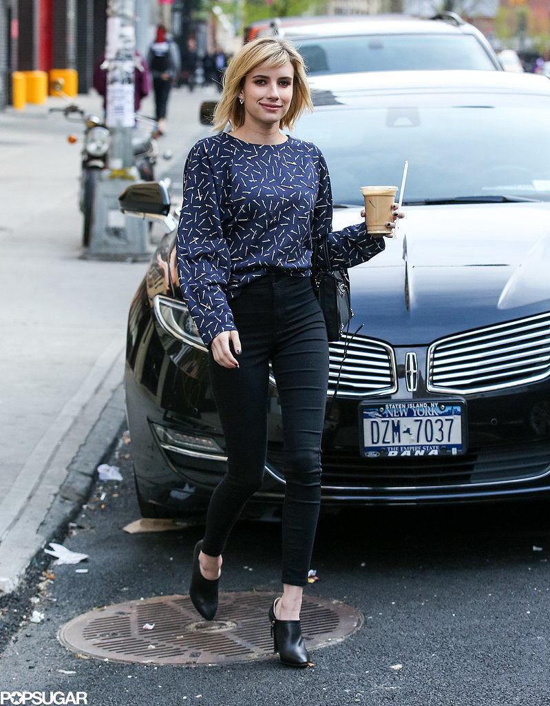 In NYC, Emma Roberts grabbed an iced coffee on Friday.