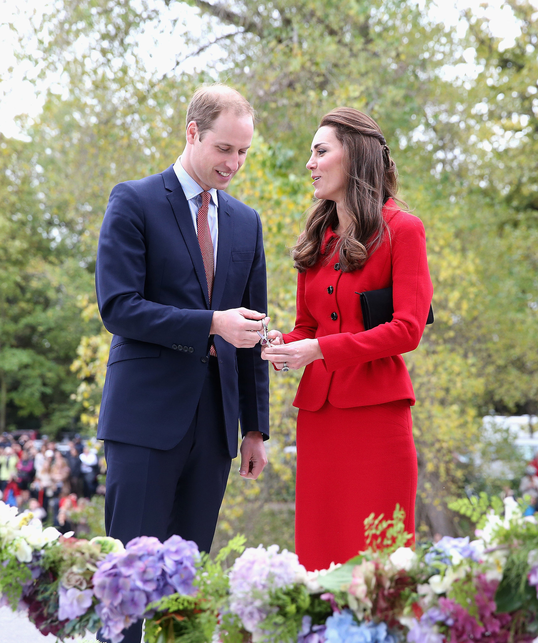 During their 2014 tour, Will and Kate cut the flower ribbon at the Botanical Gardens in Christchurch, New Zealand.