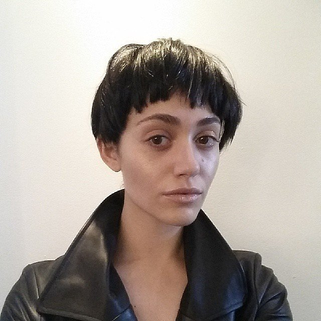Emmy Rossum showed off a shocking new look — but she was just playing dress-up. Source: Instagram user emmyrossum
