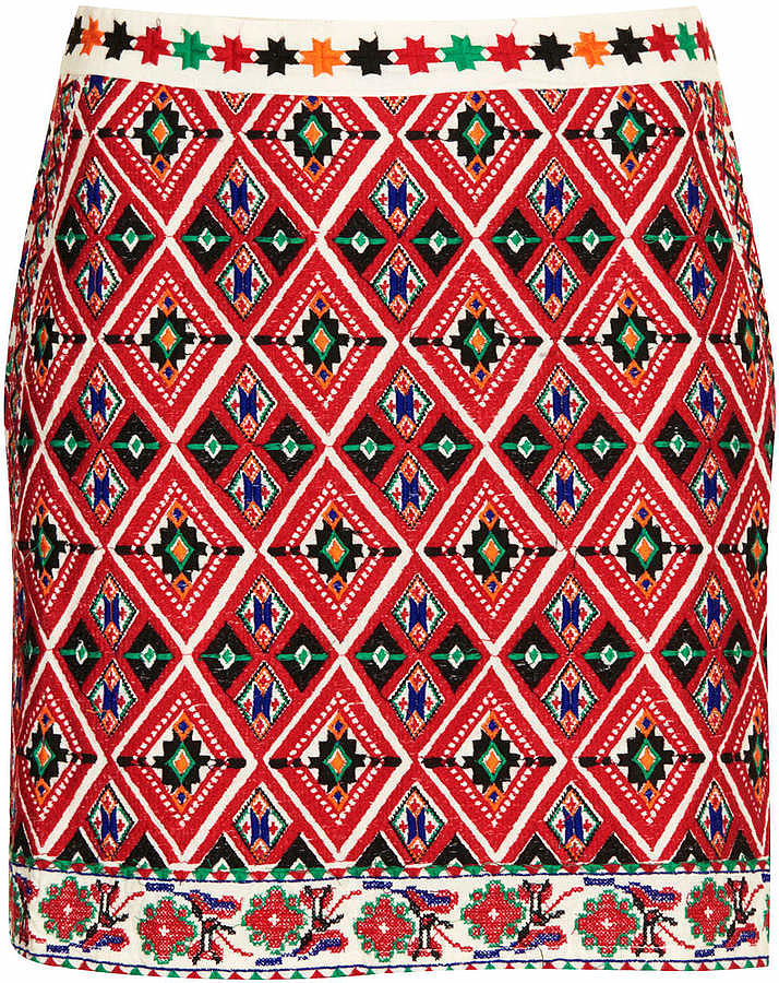 Topshop Embroidered Skirt