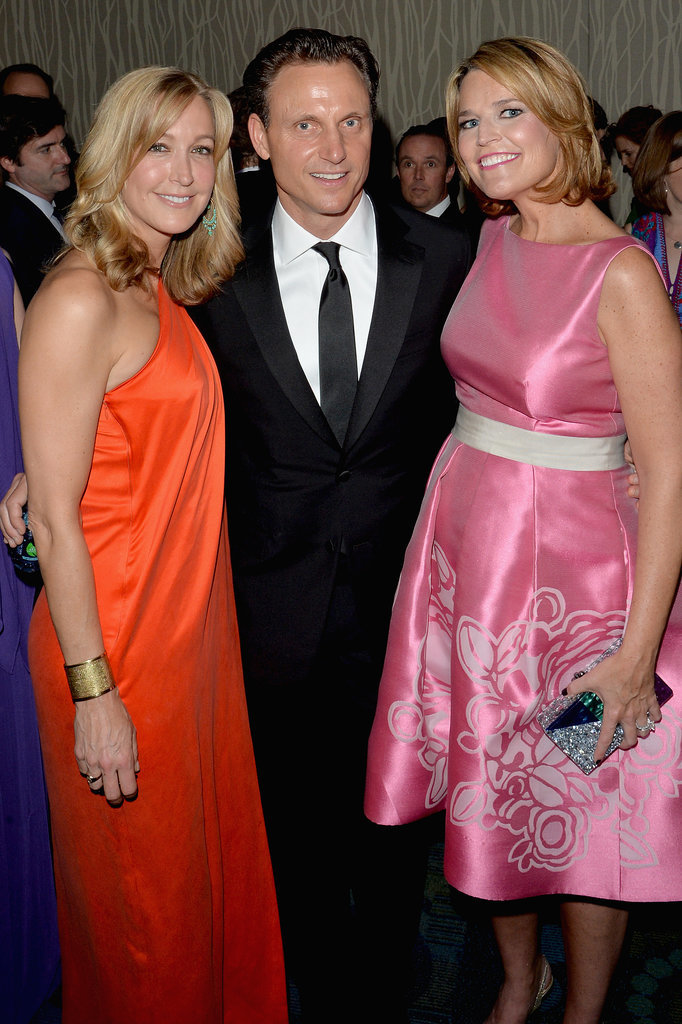Lara Spencer, Savannah Guthrie, and Tony Goldwyn huddled together.