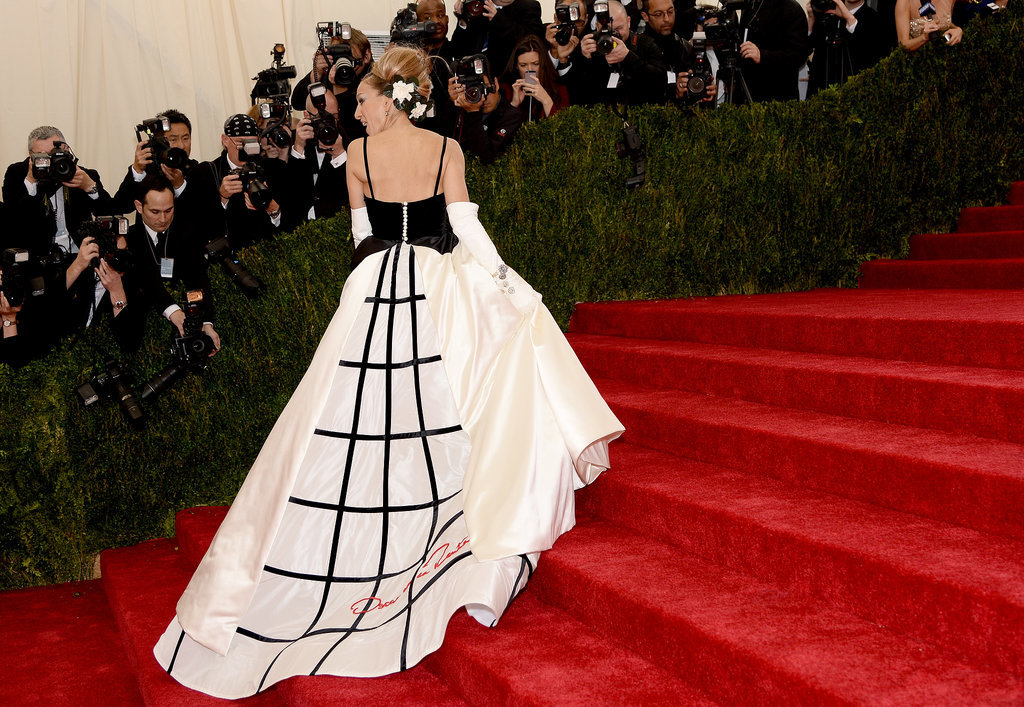 Sarah Jessica Parker carried her gown up the steps.