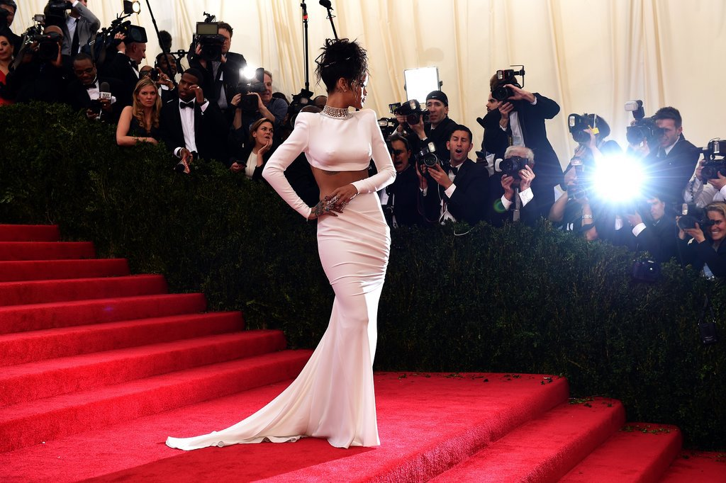Bulbs flashed for Rihanna.