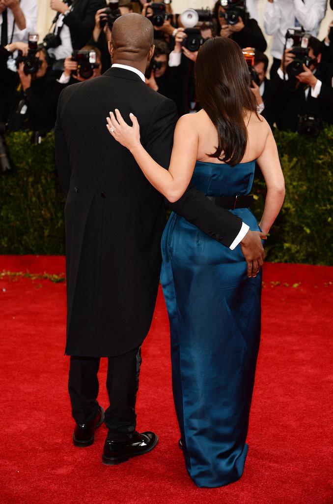 Kanye West got cheeky with Kim Kardashian on the carpet.