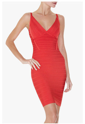 Red V-Neck Bandage Dress