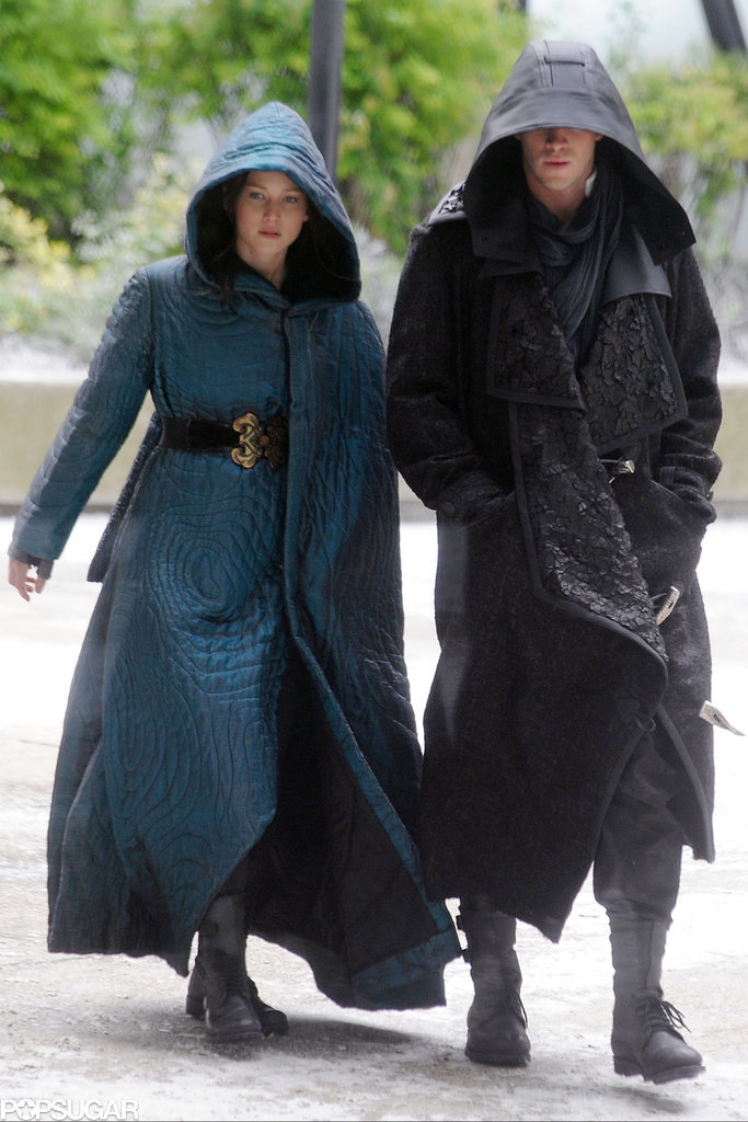 Jennifer and Liam were clad in dramatic outfits.