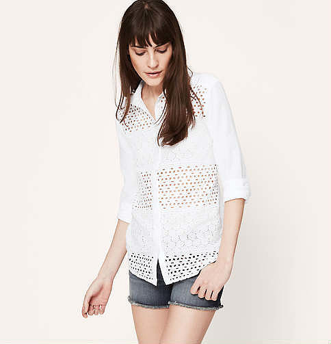 Loft Eyelet Button-Down Shirt