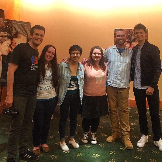 It's incredibly sweet to watch @thejohngreen and @anselelgort reuniting and being awesome with the real kids who are and have battled cancer and who are in the support group in @thefaultmovie. #tfiostour Source: Instagram user POPSUGAR