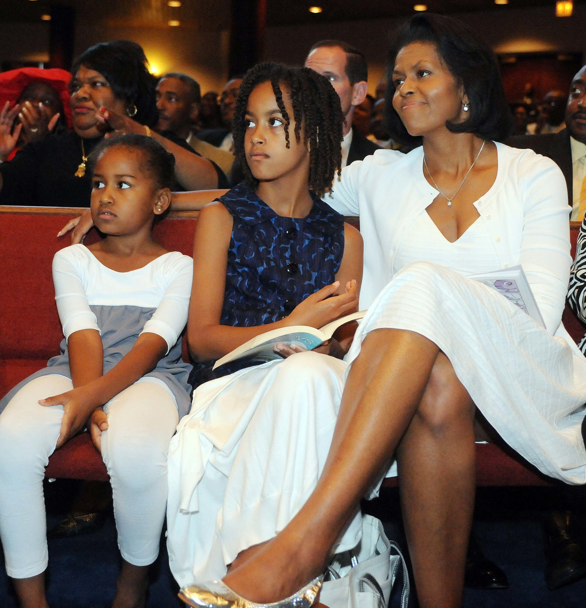 In June 2008, the Obama girls watched as then-candidate Barack gave a speech on Father's Day in Chicago.
