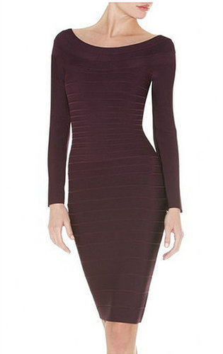 Brown Elegant Long Sleeve Bandage Dress