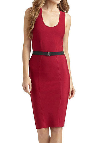 Red Sleeveless Bandage Dress With Belt