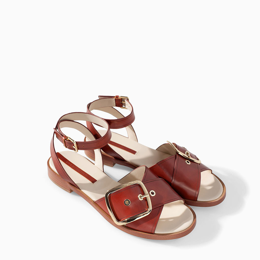 Zara Leather Sandal With Buckle