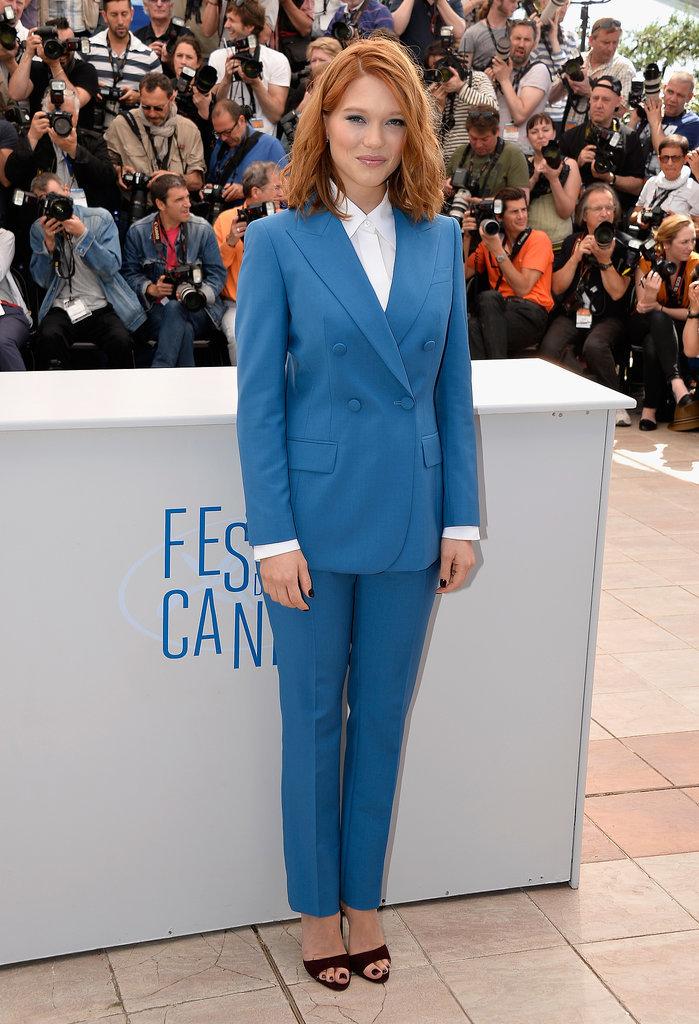 Léa Seydoux at the Saint Laurent Photocall