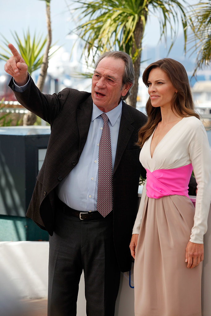 Hilary Swank and Tommy Lee Jones smiled while promoting The Homesman on Sunday.